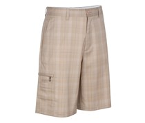 Greg Norman Big Tall Tech Plaid Short, Washed Khaki