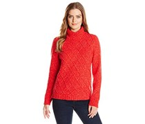 Women's Cable-Knit Turtleneck Sweater,Vibrant Red