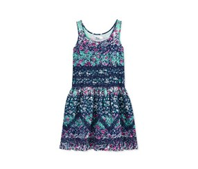 Kids Girls Floral & Lace Dress, Medieval Blue