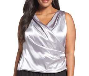 Plus Size Women's Alex Evenings Drape Surplice Blouse, Silver