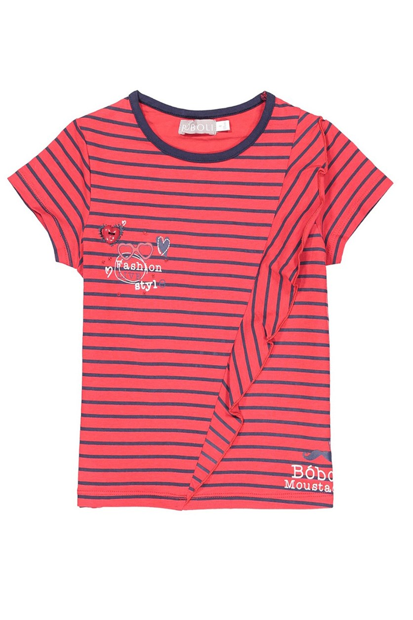 Toddler's Stretch Knit Striped T-shirt, Red