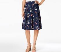 Charter Club Petite Floral-Print A-Line Skirt, Intrepid Blue Combo
