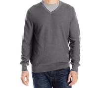 Izod Men's Solid V-neck Textured Sweater, Carbon Heather