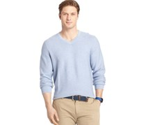 Izod Men's Link Stitch V-Neck Sweater, Light Jean Heather
