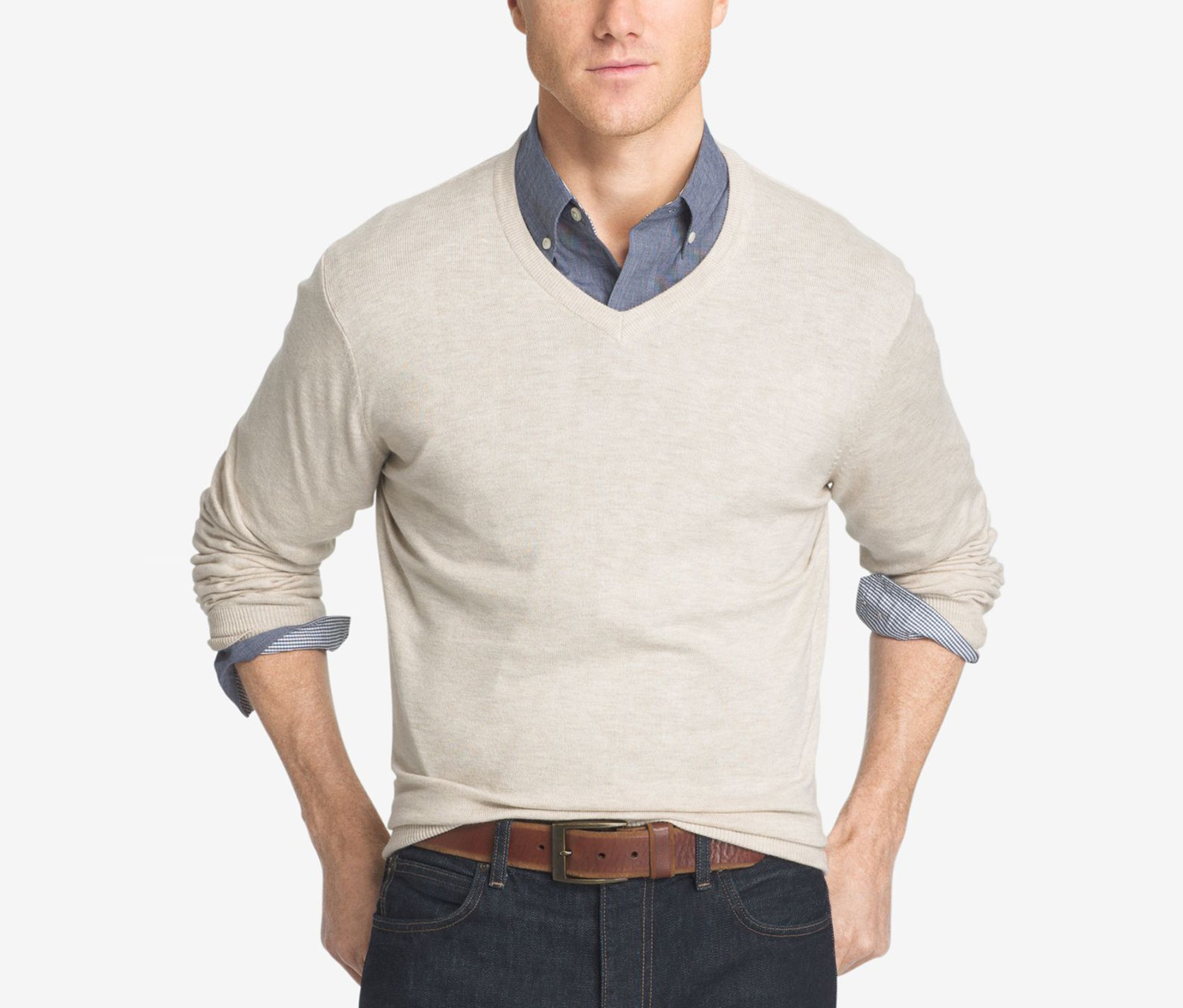 Cotton Pullover Sweater, Rock Heather