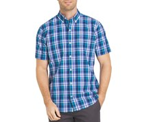 Izod Men's Short Sleeve Breeze Button Down Shirt, Saxony Blue/Purple