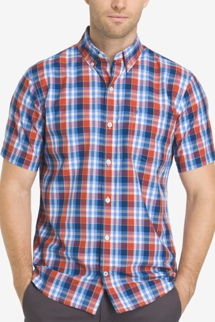 Mens Advantage Performance Easycare Plaid Short Sleeve Shirt, Cinnabar