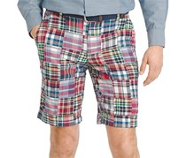 Izod Men's Mariner Madras Patchwork Shorts, Ribbon Red