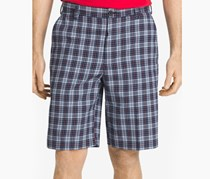 Izod Men's Plaid Flat-Front Shorts, Midnight