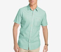 Izod Men's Dual-Pocket Chambray Cotton Shirt, Creme De Menthe
