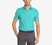 Izod Men's Saltwater Chambray Short Sleeve Woven Shirt, Bllue Rediance