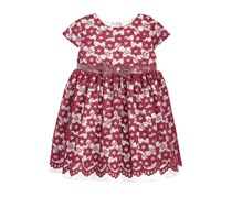 Penelope Mack Lace Sequin-Bow Dress, Dark Red
