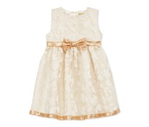 Penelope Mack Floral-Print Metallic Organza Dress, Cream