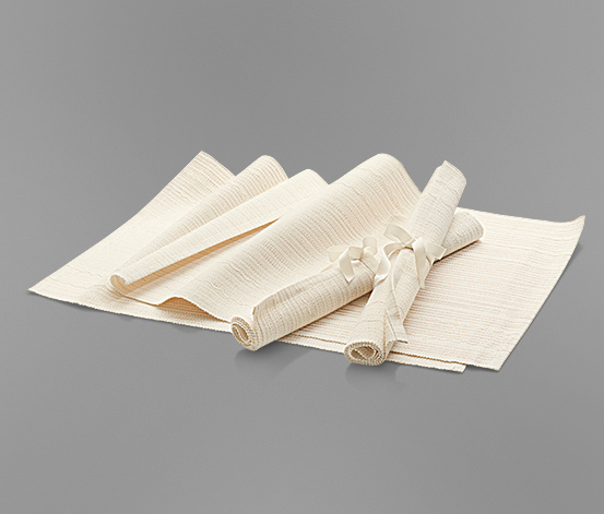 Placemat, Ribbed, beigegold, 4pcs  Brands For Less