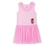Marmellata Toddlers Girls Sequin Pineapple Striped & Mesh Dress, Pink