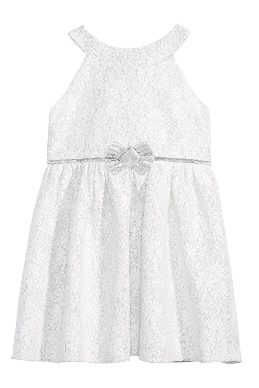 Lace A-line Toddler Girl Dress, White/Silver