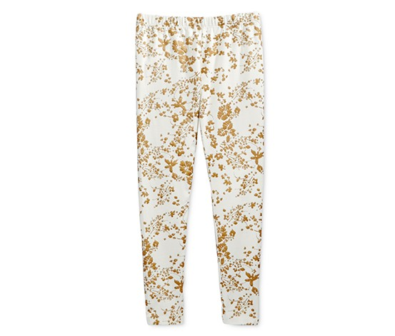 Epic Threads Girls' Metallic Floral-Print Leggings, Holiday Ivory