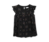 Epic Threads  Big Girls Geo-Print Ruffle Top, Deep Black