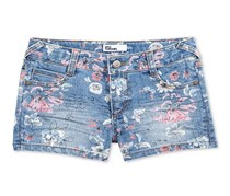 Epic Threads Floral-Print Denim Shorts, Medium Wash