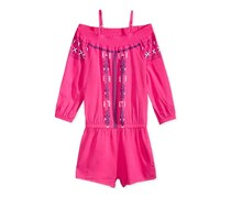 Epic Threads Smocked Printed Romper, Pink Yarrow