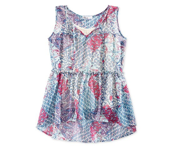 Big Girls Babydoll Tank Top, Holiday Ivory/Blue/Red