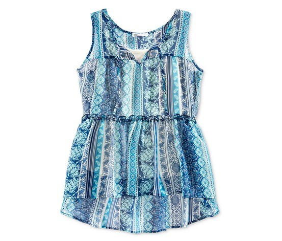 Big Girls Babydoll Tank Top, Blue Opaline