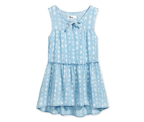 Big Girl's Printed Babydoll Top, Light Wash