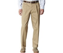 Dockers Men's Relaxed Fit Pleated Pant, Dark Wheat