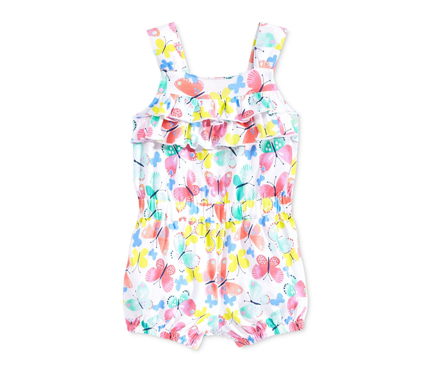 First Impressions Baby Girls Floral-Print Cotton Romper Bright White