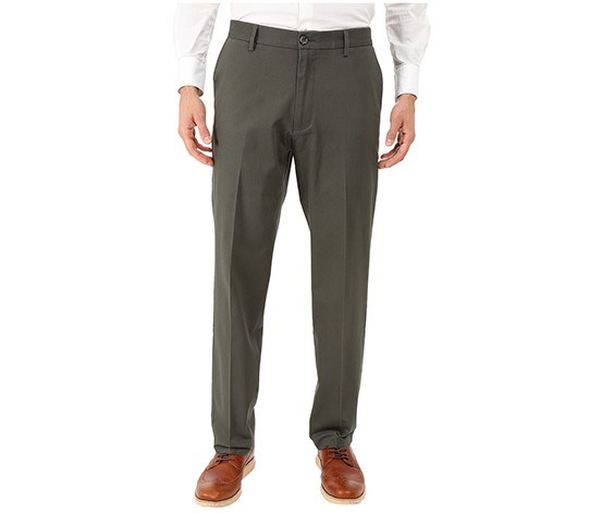 Mens Signature Stretch Flat Fit Pants, Olive Grove