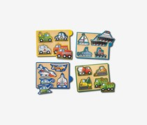 Melissa & Doug Wooden Vehicles Mini-Puzzle-Pack, Yellow Combo