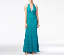 Jump Juniors Halter Lace Gown, Teal