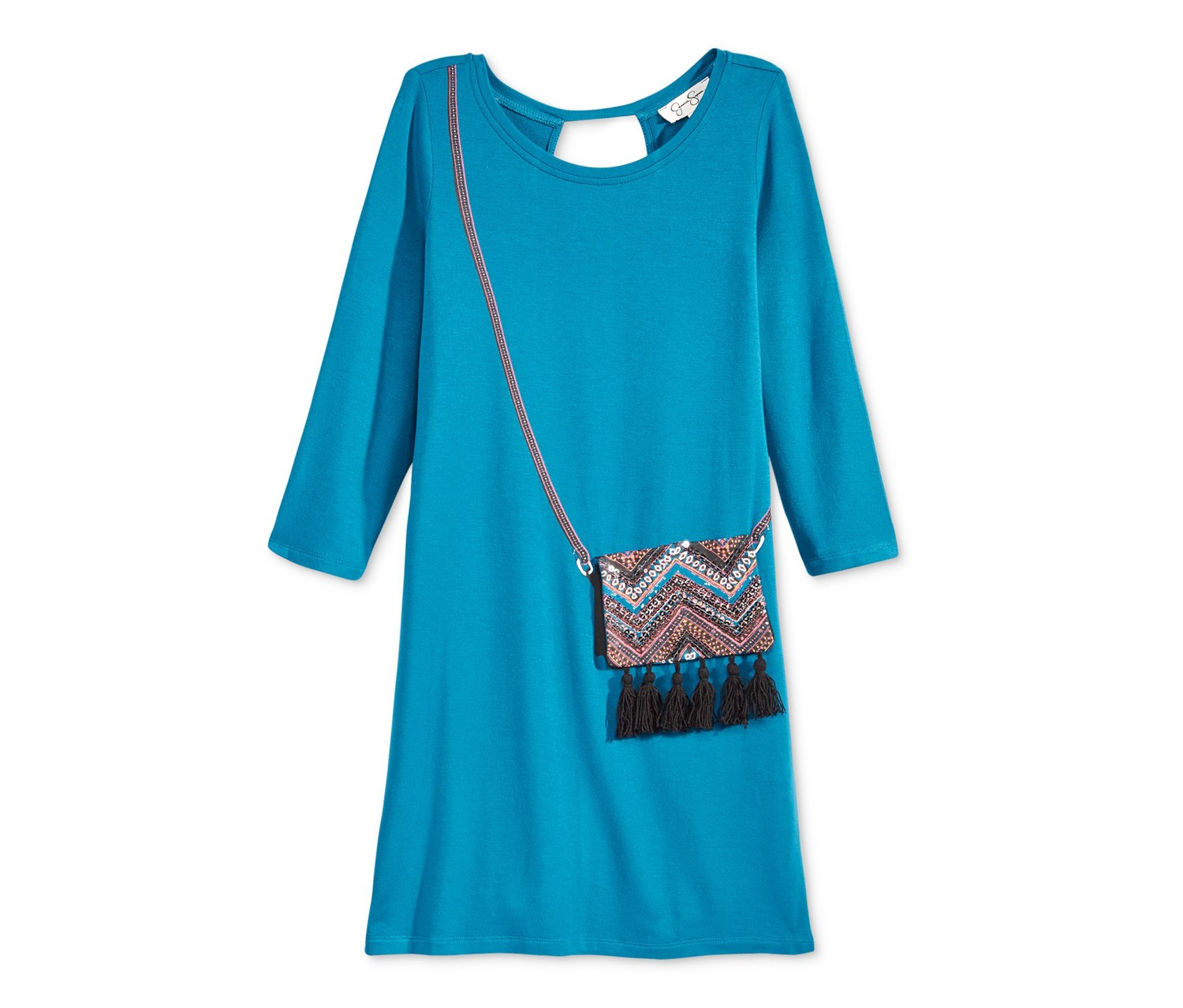 Jessica Simpson Enya Long-Sleeve Purse Dress, Celestial