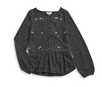 Jessica Simpson Embellished Peplum Top, Heather Charcoal