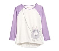 Jessica Simpson Girls' Ella Bunny Purse Tee, Regal Orchid Bunny