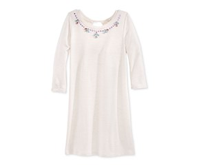 Jessica Simpson Embellished-Neck Dress Big, Heather Oatmeal