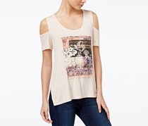 Women Lorani Cold-Shoulder Graphic T-Shirt, Pastel Orange