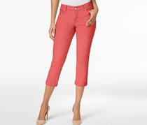Vintage America Boho Colored Wash Cropped Jeans, Coral