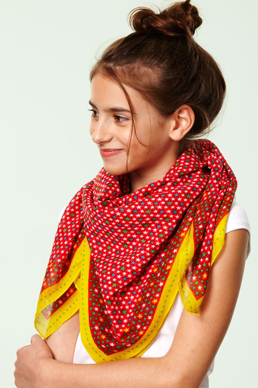 Kids Scarf, stars, yellow red