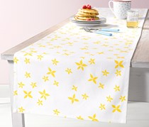 Table Runner, 180 x 40 cm, White/Yellow Floral