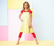 Girls Jersey Dress Stripes, Yellow