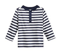 First Impressions Baby Boys' Long-Sleeve Striped Henley T-Shirt, Navy Nautical
