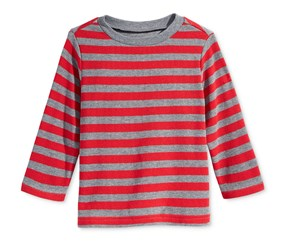 First Impressions Striped Thermal T-Shirt, Baby Tango Red
