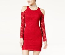 Women Juniors' Lace Cold-Shoulder Bodycon Dress, Red