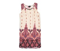 AUW Poly Chiffon Woven Hardware Bar Front Dress, Cream/Coral
