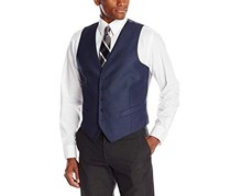 Perry Ellis Mens Button Suit Separate Vest, Bay Blue