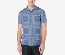 Perry Ellis Men's Bandana-Print Short-Sleeve, True Navy