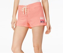 Ultra Flirt Juniors' Lace-Up Active Graphic Shorts, Pink
