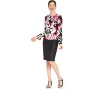 Le Suit Printed Shantung Skirt Suit, Pink Multi