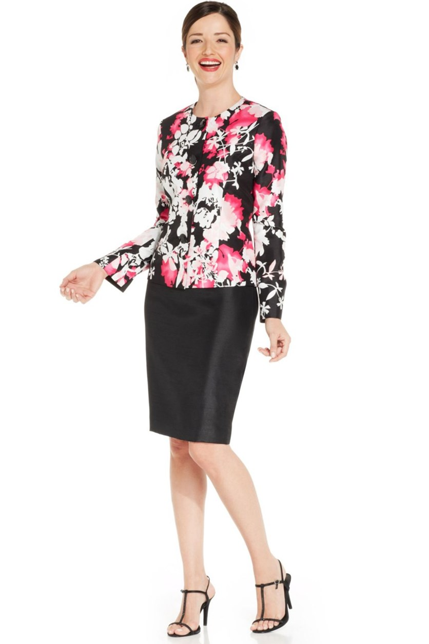 Printed Shantung Skirt Suit, Pink Multi